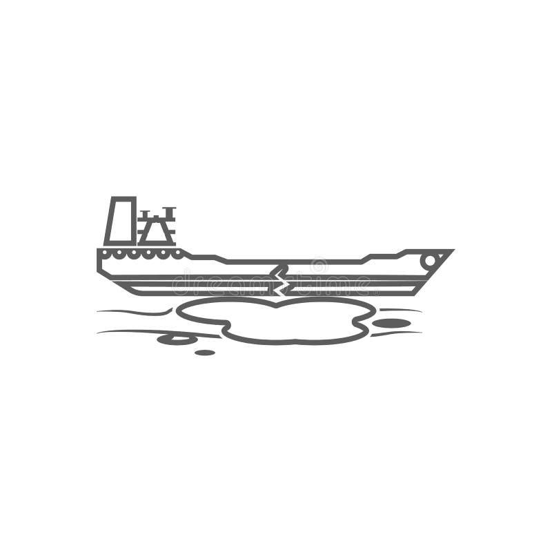 авария значка нефтяного танкера Элемент масла для мобильных концепции и значка приложений сети План, тонкая линия значок для диза иллюстрация штока