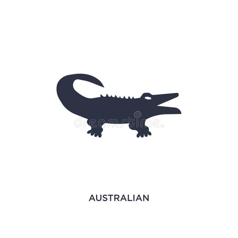 австралийский значок аллигатора на белой предпосылке Простая иллюстрация элемента от концепции культуры иллюстрация вектора