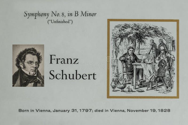 Австрийский композитор Франц Шуберт стоковые фотографии rf