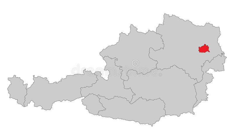 Австрия - карта Австрии - высокое детальное иллюстрация вектора