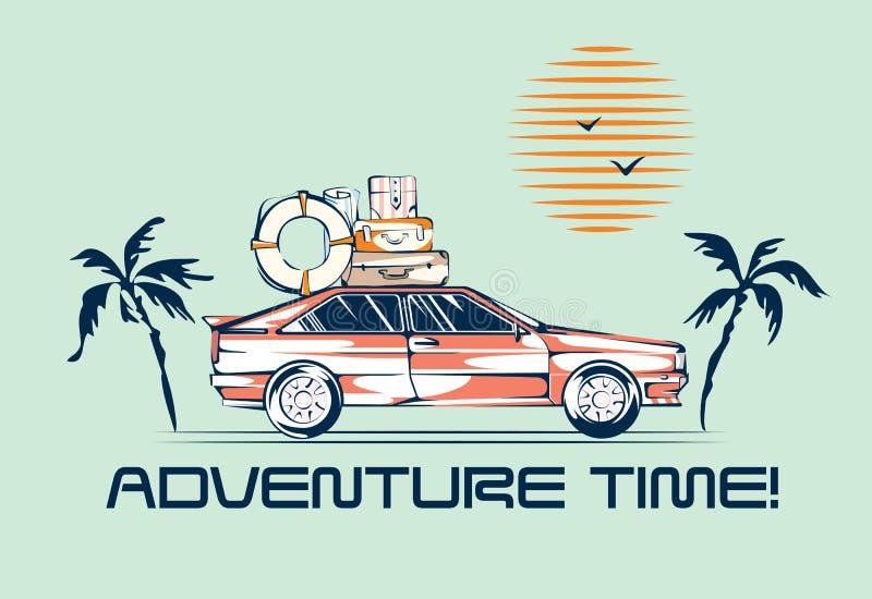 Автомобиль путешествуя иллюстрация в ретро стиле 1980s Концепция отключения автомобиля Винтажный корабль, ладони и солнце иллюстрация вектора