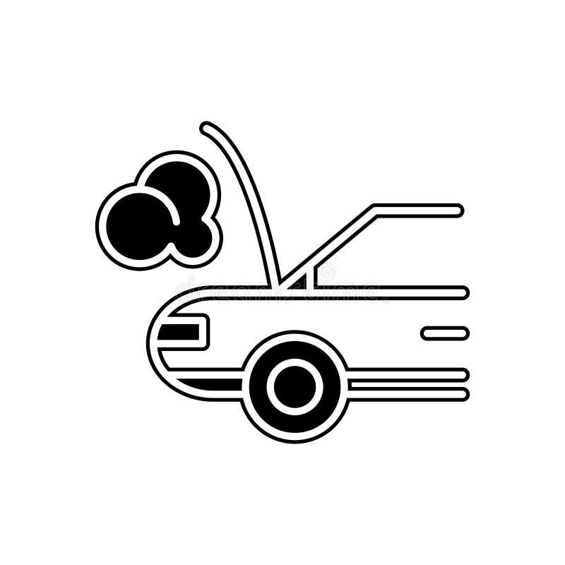автомобиль сломанный вниз с значка Элемент автомобилей обслуживания и запчастей для мобильных концепции и значка приложений сети  иллюстрация вектора