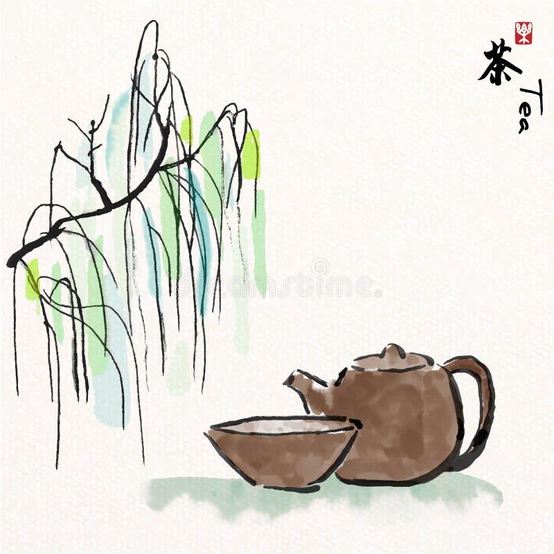 Азиатские набор и верба чая со стилем искусства китайской росписи, китайские характеры значат наслаждаются чаем иллюстрация штока