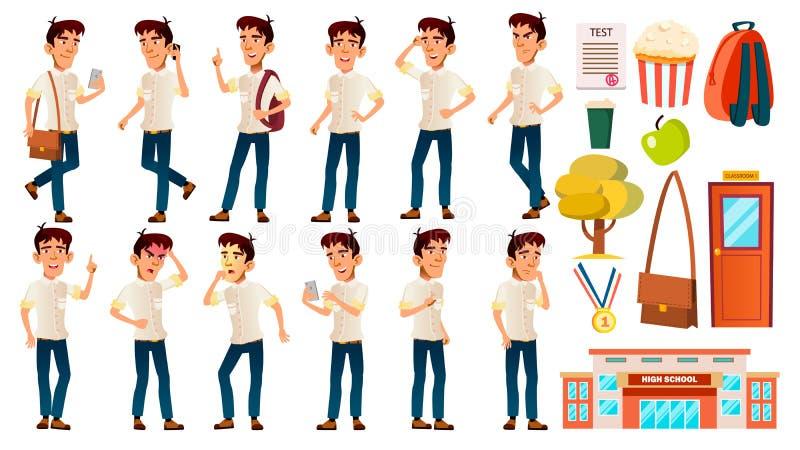Азиатский ребенк школьника мальчика представляет установленный вектор эмоционально Белая рубашка Средней школы Исследование детей иллюстрация вектора