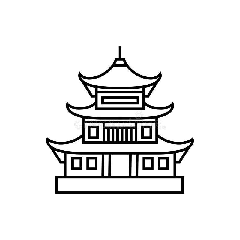 Азиатским иллюстрация вектора башни пагоды изолированная значком бесплатная иллюстрация