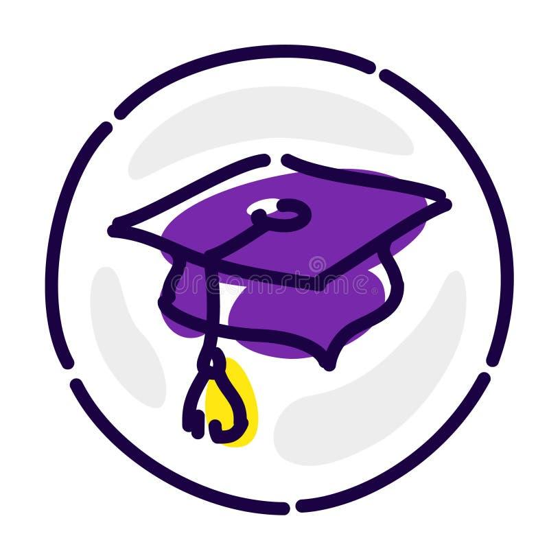 Академичная шляпа исключительный логотип, воплощение, знак Значок вектора плоский Изображение изолировано на белой предпосылке Зн бесплатная иллюстрация