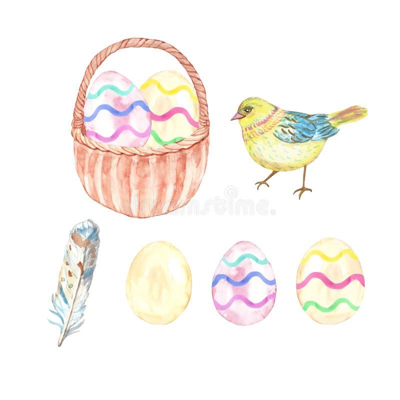 Акварель пасха установила с сортированными красочными яйцами, милой желтой птицей младенца, пером и корзиной пасхи иллюстрация вектора