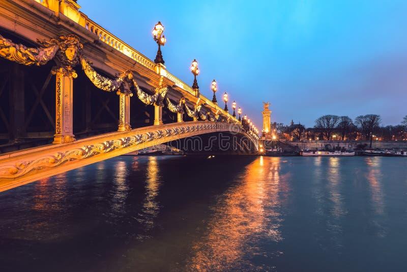 Александр третий мост над рекой Сеной в Париже стоковая фотография