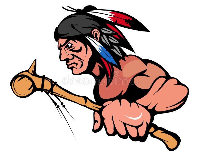 Американский индийский главный график талисмана, индийский воин с традиционным оружием, индийский вождь соответствующий как логот иллюстрация штока