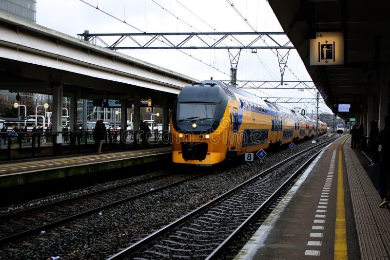 Амстердам, Нидерланд, 7-ое марта 2019: Желтый поезд или междугородний от NS который приезжает на платформу стоковая фотография