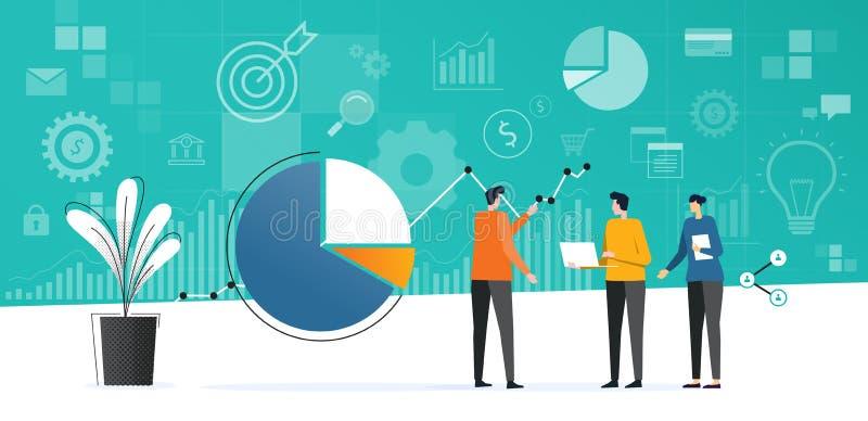 Аналитик плоской встречи команды дела работая и контролировать план финансов вклада бесплатная иллюстрация
