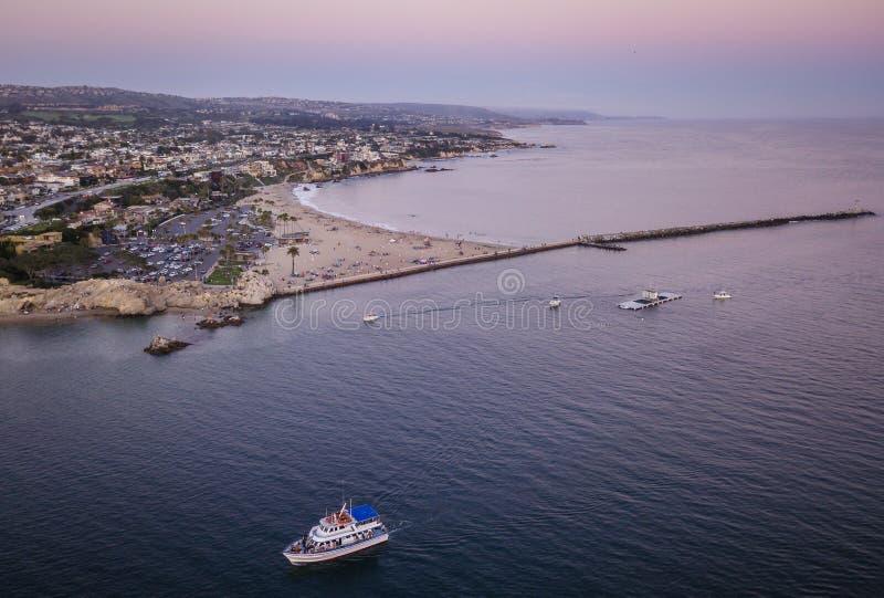 Антенна пляжа Corona del Mar стоковая фотография