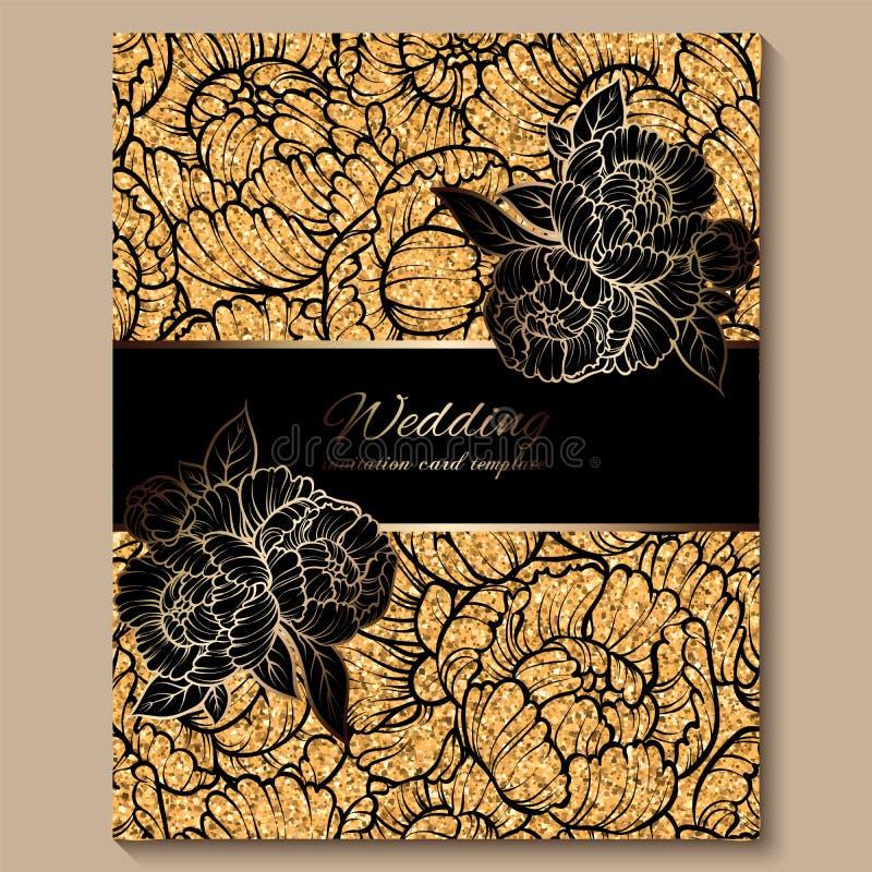Античная королевская роскошная карта приглашения свадьбы, золотая предпосылка яркого блеска с рамкой и место для текста, черной к иллюстрация вектора