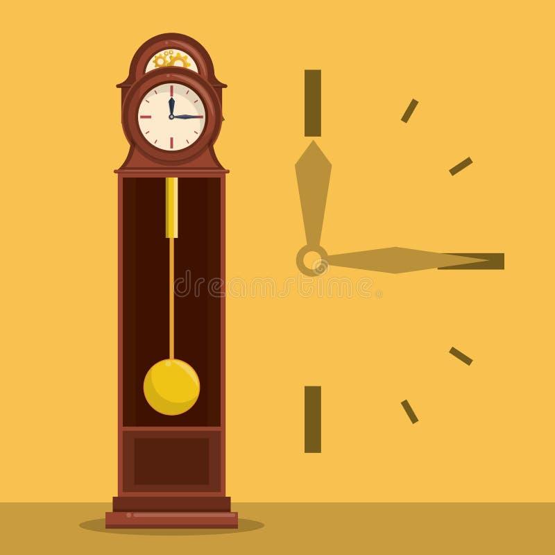 Античные деревянные часы с символом рук иллюстрация вектора