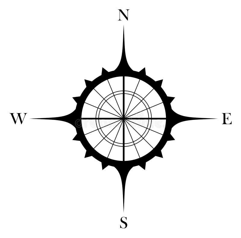 Античный символ вектора лимба картушки компаса для морской или морской навигации и также для включения в карте на изолированном б иллюстрация штока
