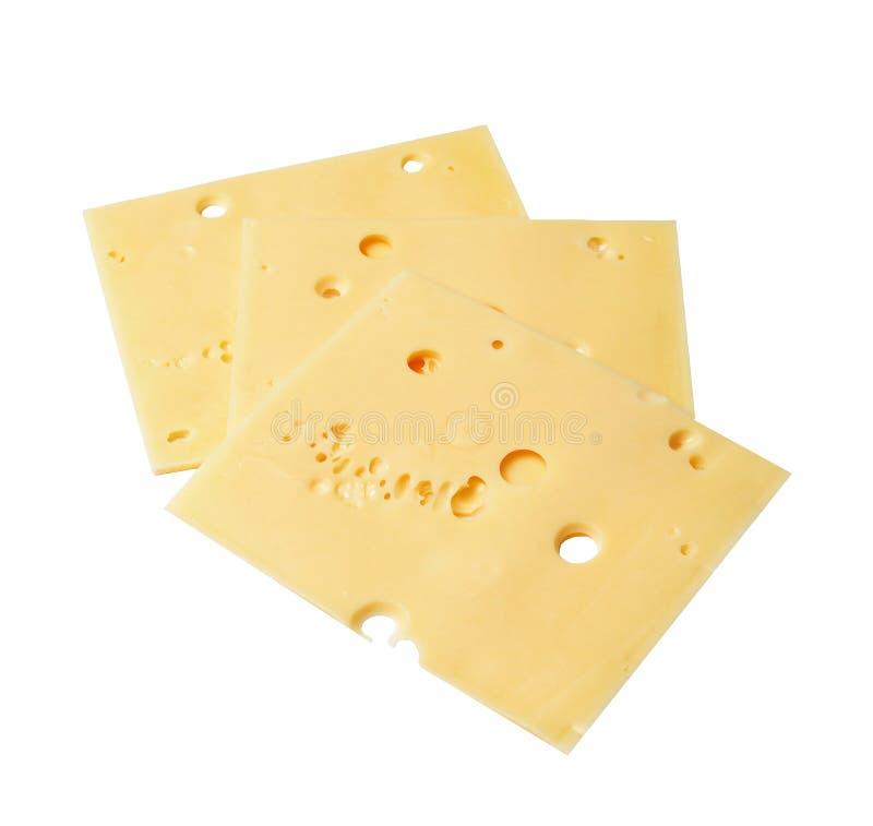 3 аппетитных части сыра на белой изолированной предпосылке над взглядом стоковое изображение