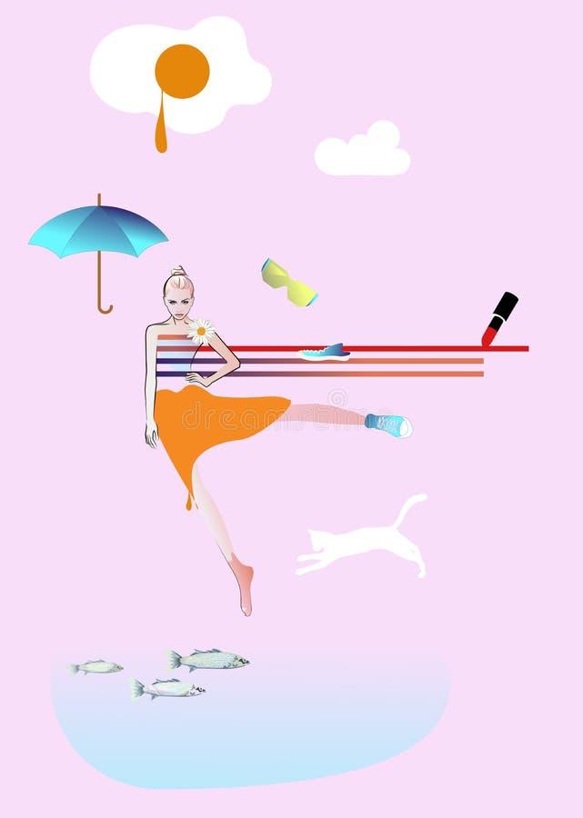 Watercolor portrait girl model, fashion art, beauty. Abstract watercolor portrait girl model, fashion art, beauty. Color vector prints, Makeup, showing empty vector illustration