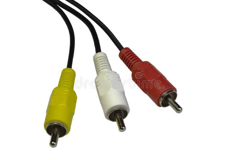 Аудио видео- предпосылка изолированная кабелем белая стоковое фото rf