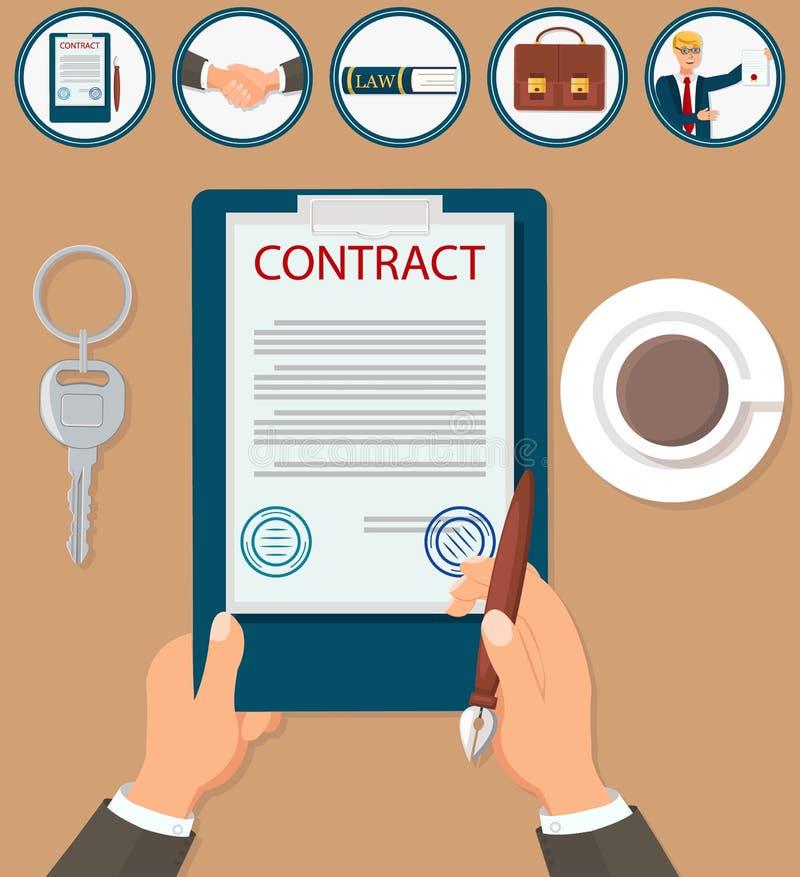 Аттестация контракта подписания иллюстрации вектора иллюстрация штока