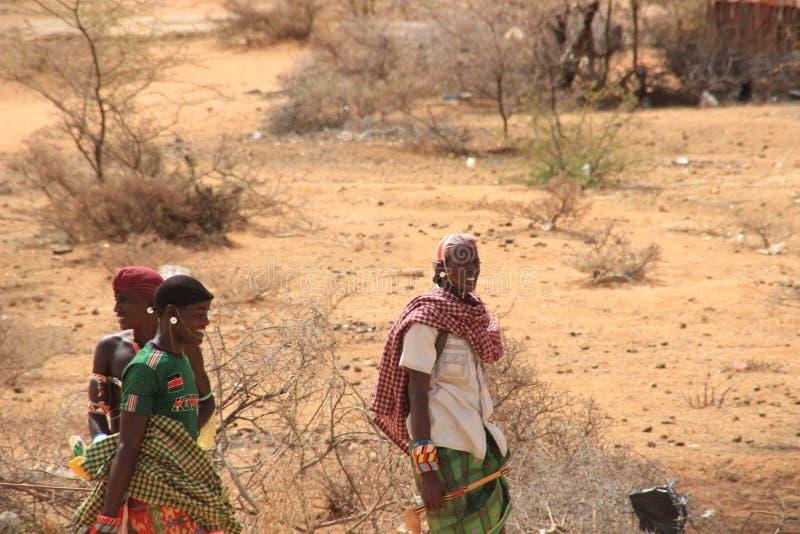Африканские люди от племени Samburu связанного с племенем Masai в национальных украшениях стоковое фото