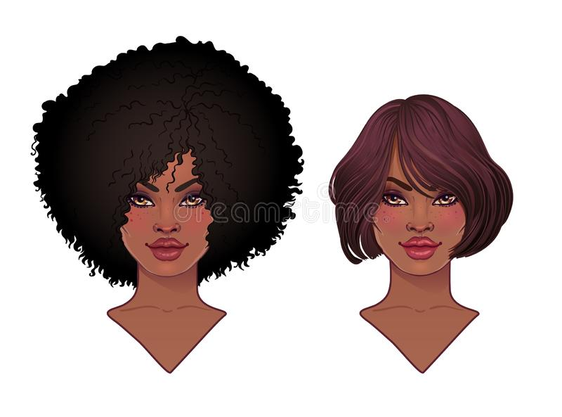 2 Афро-американских милых девушки Vector иллюстрация чернокожей женщины с афро стилем причёсок и шеей бесплатная иллюстрация