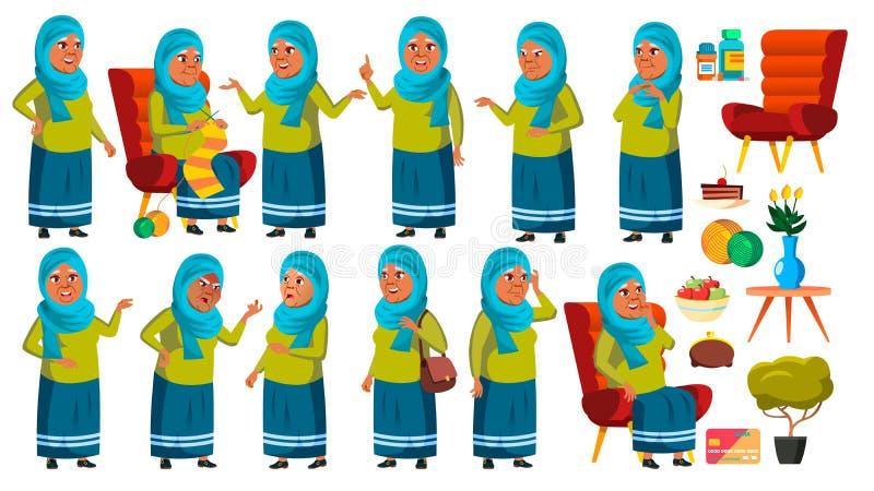 Арабская, мусульманская старуха представляет установленный вектор Престарелый Старшая персона агенства Милый пенсионер активизма  иллюстрация штока