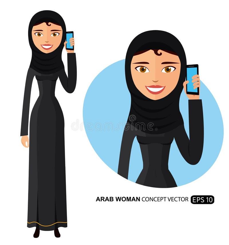 Арабская счастливая женщина говоря на векторе телефона плоско изолированном на белизне бесплатная иллюстрация