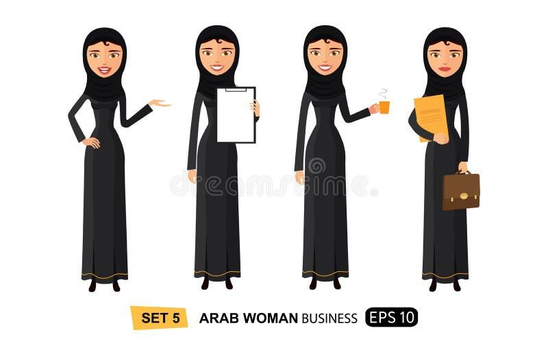 Арабские бизнес-леди плоско наслаждаясь вектором мультфильма кофе чашки плоским изолировали иллюстрация вектора