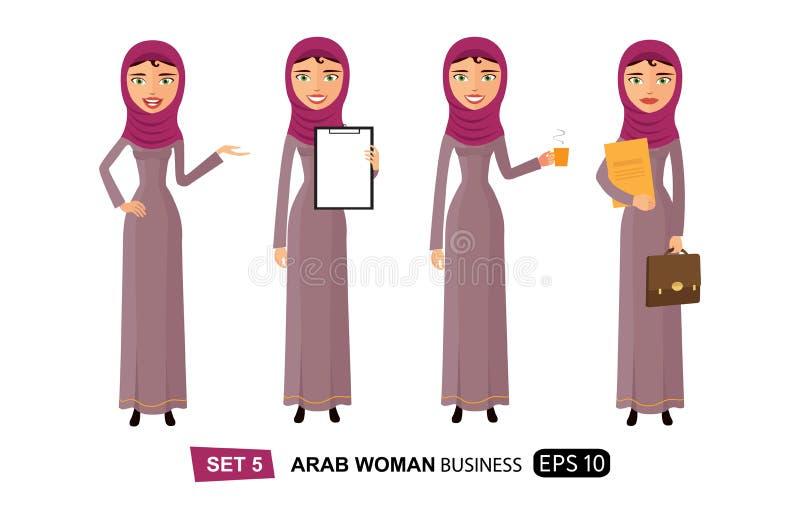 Арабские бизнес-леди плоско наслаждаясь вектором мультфильма кофе чашки плоским изолировали бесплатная иллюстрация
