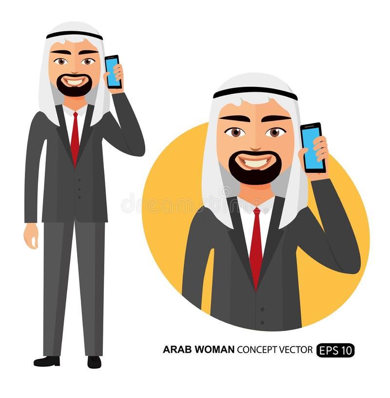Арабский счастливый человек говоря на векторе мобильного телефона плоско изолированном на белизне иллюстрация вектора