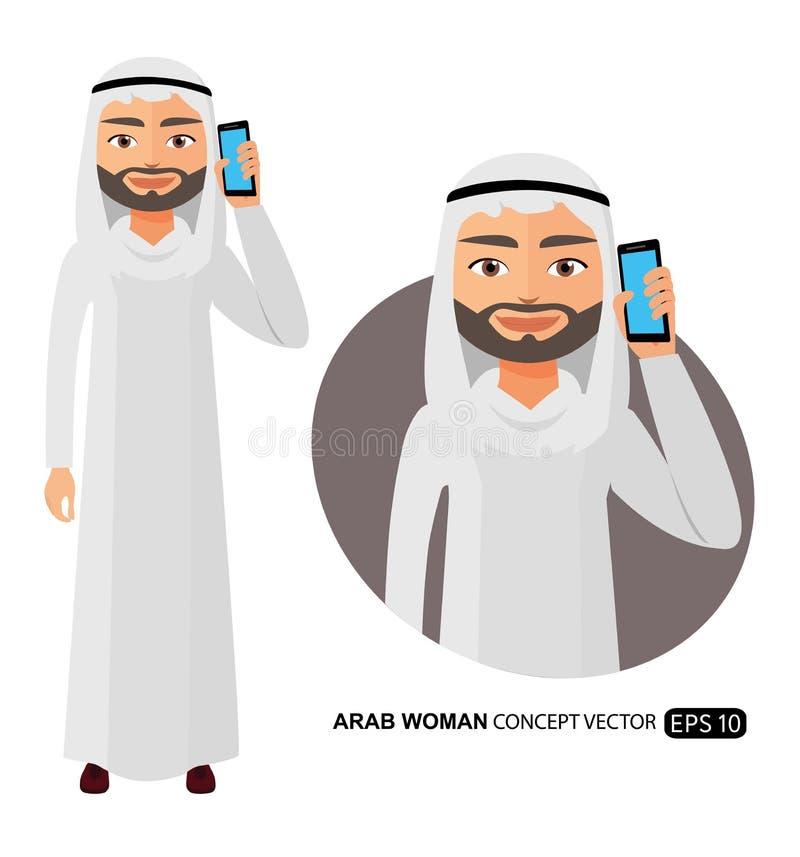 Арабский человек говоря на векторе телефона плоско изолированном на белизне бесплатная иллюстрация
