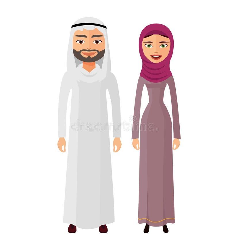 Арабский человек и женщина пар совместно счастливые в традиционных национальных одеждах одевают вектор костюма бесплатная иллюстрация