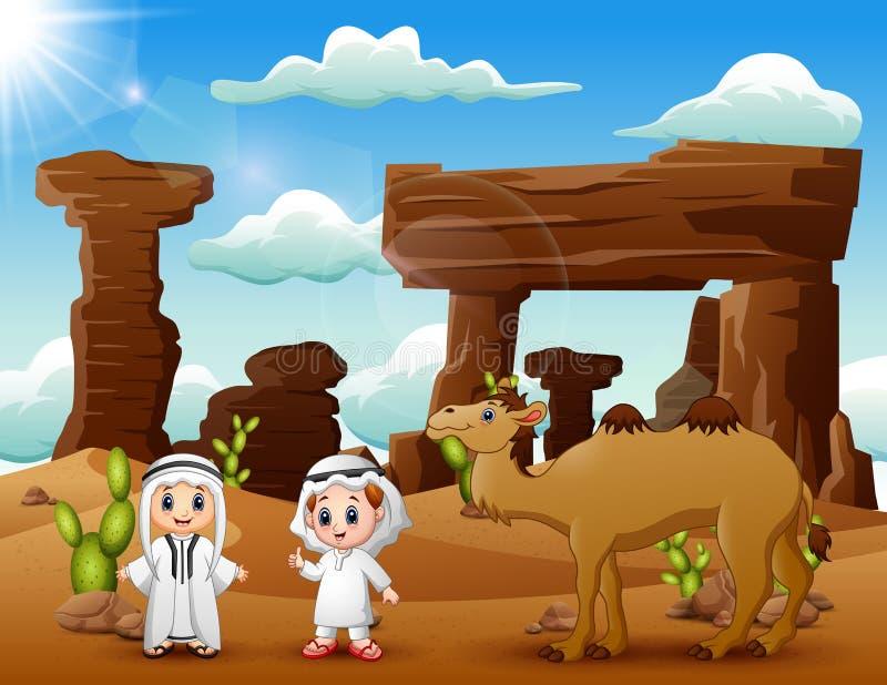 2 арабских мальчика с верблюдами в пустыне бесплатная иллюстрация