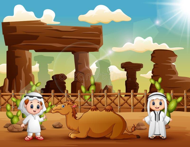 2 арабских мальчика с верблюдами в пустыне иллюстрация штока