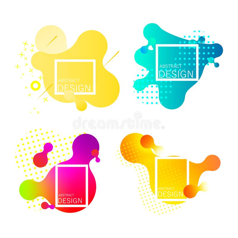 Set of colorful elements, gradient abstract. vector illustration