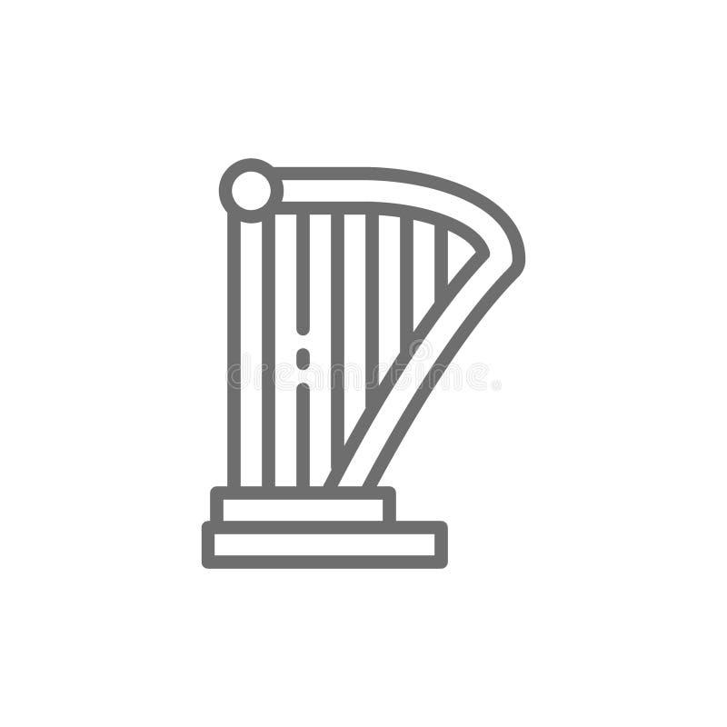Арфа, лира, линия значок аппаратуры музыки иллюстрация вектора