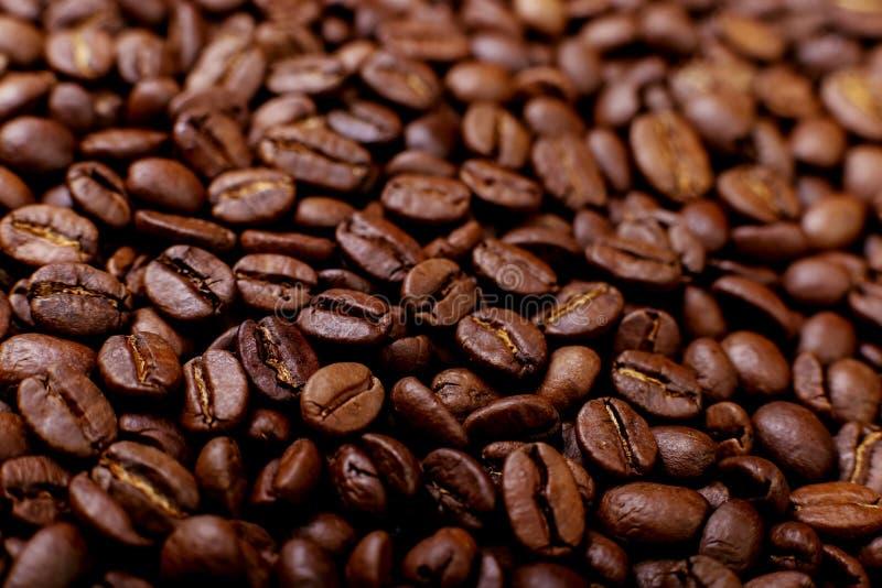 Ароматность зажарила в духовке кофейные зерна, коричневую предпосылку поднимающее вверх близкого фокуса мягкое стоковое фото rf