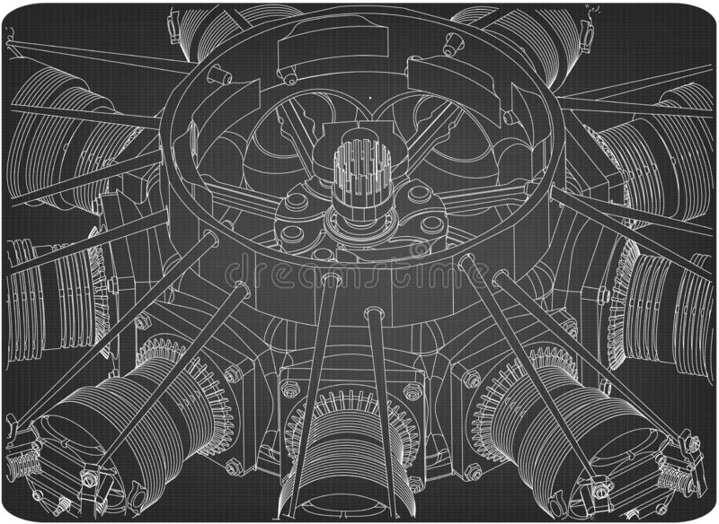 Radial engine on a gray stock illustration