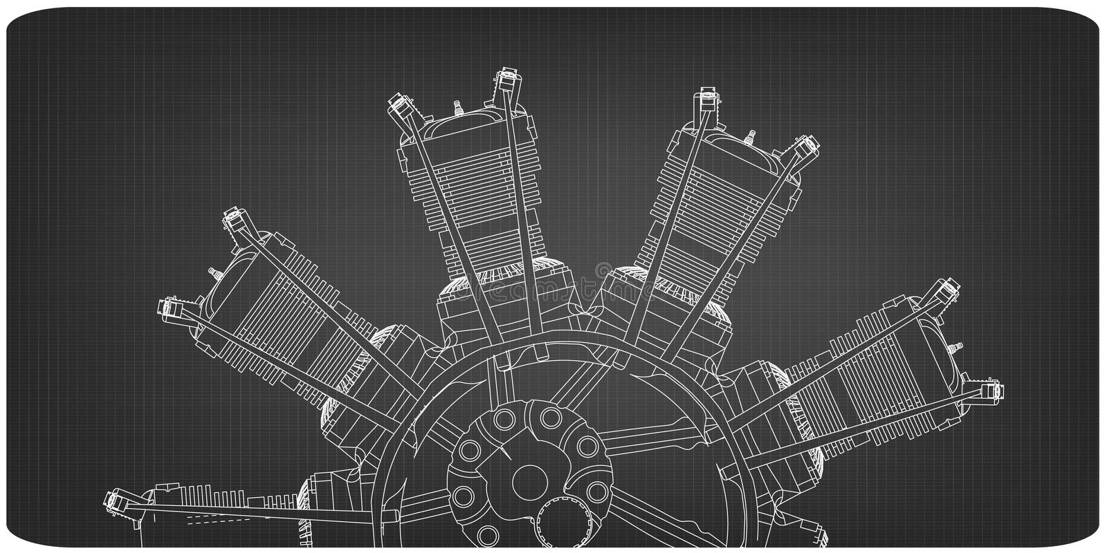 Radial engine on a gray vector illustration