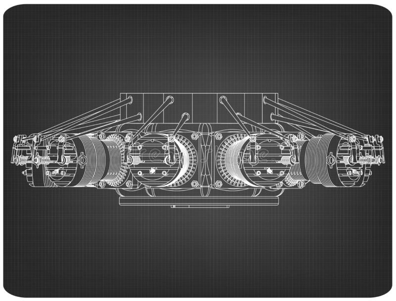 Radial engine on a gray. Background. Drawing royalty free stock photos