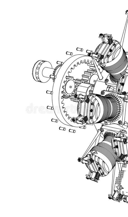 Radial engine on a white. Background. Drawing royalty free stock photos
