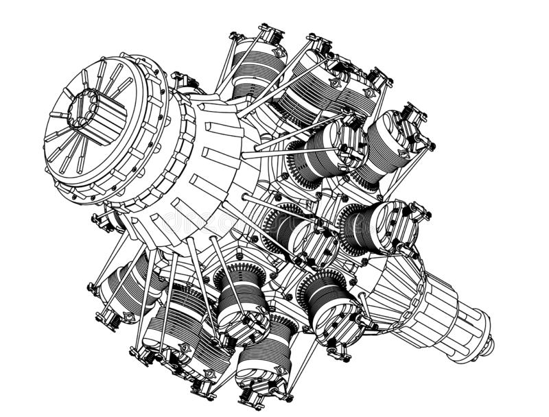 Radial engine on a white. Background. Drawing royalty free stock image