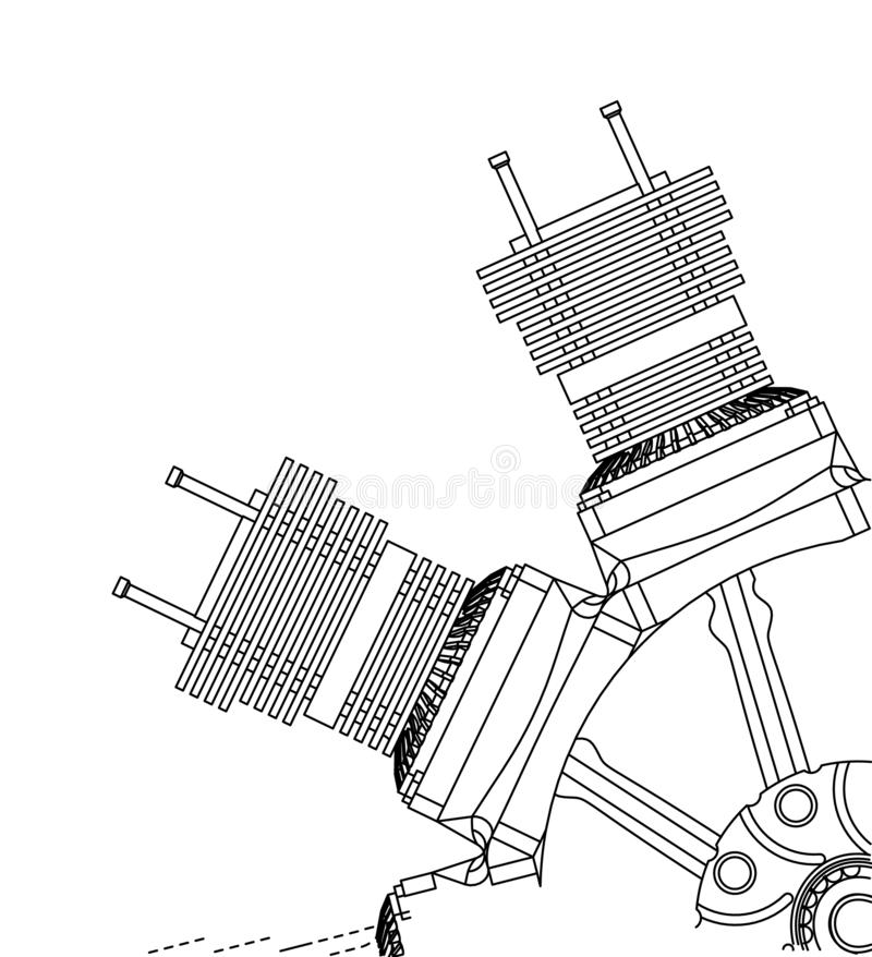 Radial engine on a white. Background. Drawing royalty free stock photography