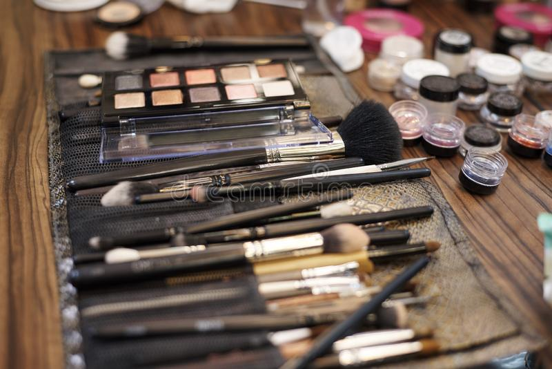 А set of make-up brushes stock photography