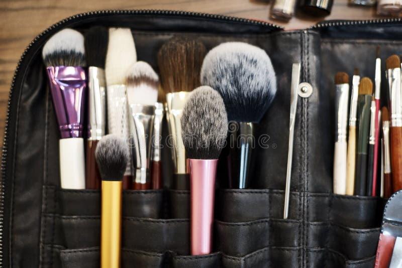 А set of make-up brushes stock photo
