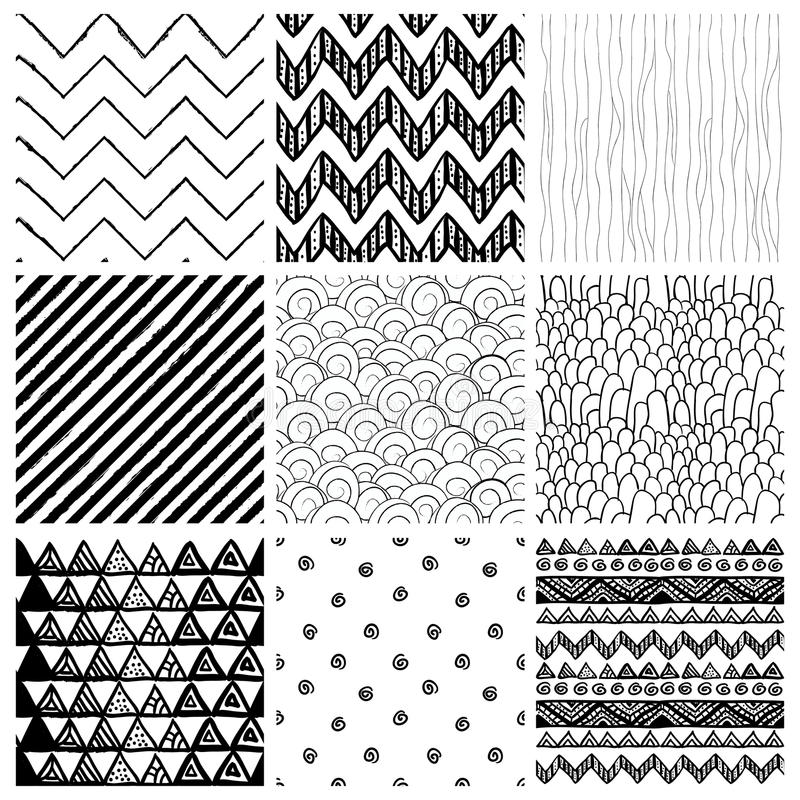 Аbstract Hand Drawn Seamless Background Patterns. Set of Nine Abstract Hand Drawn Geometric Black and White Seamless Background Patterns. Fully Editable EPS stock illustration