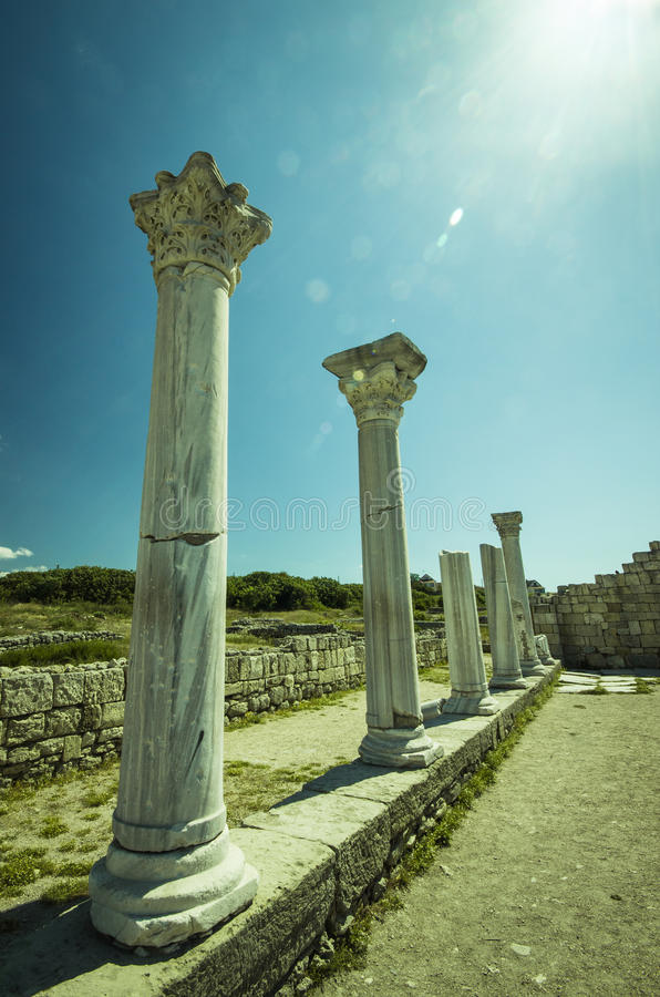 Аncient city ruins - columns of the temple royalty free stock photography
