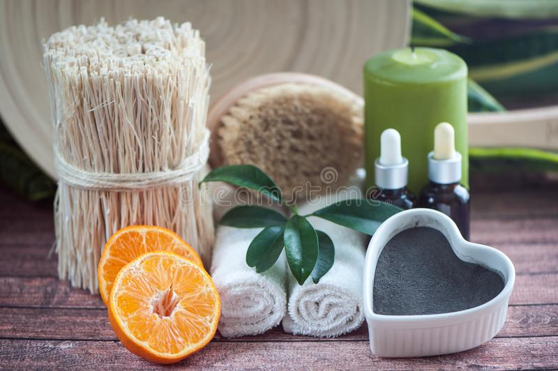 Аnti-cellulite, organic, bio, natural cosmetics. Remedy for cellulite massage, spa. Natural oils and massage brush, blue clay royalty free stock image