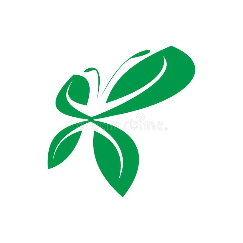 Бабочки природы конспекта символ Eco свободной зеленой чистый иллюстрация вектора