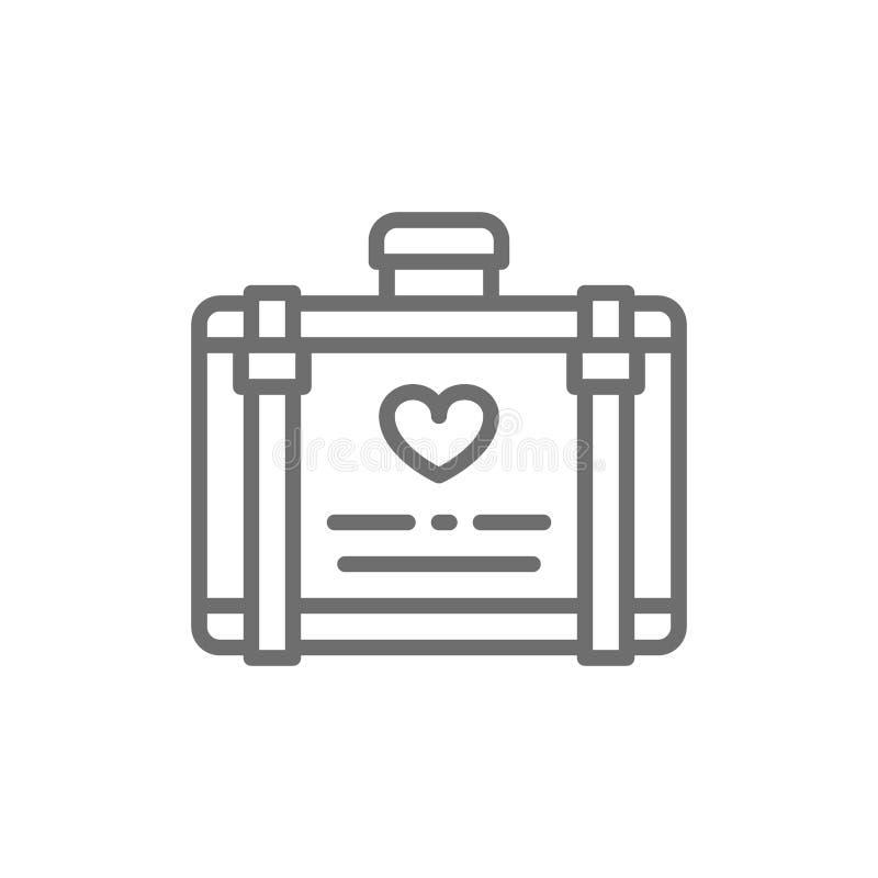 Багаж свадьбы, чемодан для линии значка медового месяца бесплатная иллюстрация